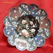 Antique Meiji Period Japanese Cloisonne Charger with Fine Brocade Border