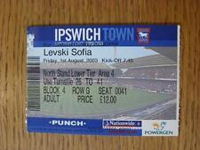 01/08/2003 Ticket: Ipswich Town v Levski Sofia [Friendly]