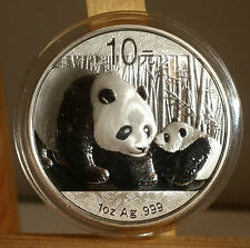2011 China Silver Panda coin 1 oz .999 Fine 10 Chinese Yuan - Airtite Capsule