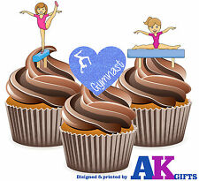 I Love Gymnastics Girls Mix 12 Edible Cup Cake Toppers Birthday Decorations