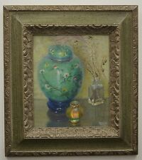 "STANLEY S SESSLER ""Chinese Vase and Tiffany"" 1977 Original Oil Painting"