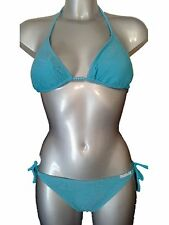 New Aqua Bikini Set UK 10 Triangle Cups tie side briefs Crochet & Beads Ladies