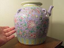 antique Chinese Peranakan art lavender pot jar ginger vtg famille rose porcelain