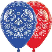 "10 pc 11"" Red & Blue Paisley Bandana Latex Balloons Party Decoration Western"