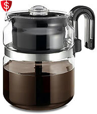 Glass Stovetop Percolator Coffee Pot Maker 8 Cup Thermal Stove Top Kitchen