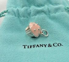 Authent Tiffany & Co. Silver Pink Enamel Cupcake Charm Pendant T & Co Jewelry