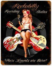 Oldschool Schild Rockabilly Gitarre Sexy Pin Up Musik Platte  Werbung