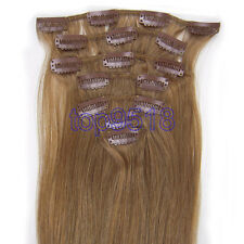 "7PCS Clip In Remy Real Human Hair Extensions Straight 15""18""20""22""24""26""28"""
