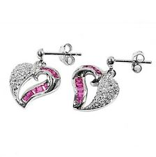 Silver Earrings with Cubic Zirconia Earring Height 15mm Stone Ruby Clear CZ