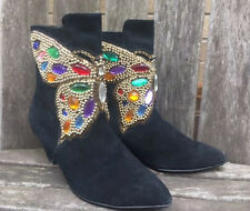 Vintage 80's Black Suede Bejeweled Butterfly Ankle Boots