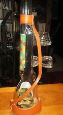 RARE GLASS SNIPER BRAND VODKA DECANTER BOTTLE WITH LEATHER SLING