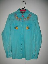 """NWOT Western Embroidered Pearl Snap Long Sleeve Shirt -Womens M (40"""" chest)"""