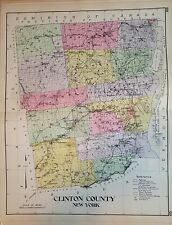 1912 CLINTON COUNTY NEW CENTURY ATLAS MAP COUNTIES OF THE STATE OF NY 24X30
