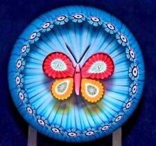 Dazzling PERTHSHIRE Millefiori BUTTERFLY over BASKET Art Glass PAPERWEIGHT