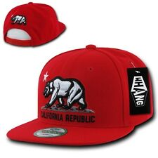 Solid Red California Republic Bear Cali Flat Bill Snapback Snap Back Cap Hat
