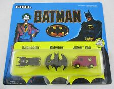 Vintage 1989 Batman ERTL Die Cast Metal Micro Set Batmobile Batwing Joker Van