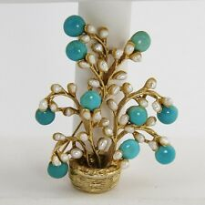50s 60s VINTAGE JEWELRY LARGE UNSIGNED SWOBODA TURQUOISE & PEARL TREE BROOCH
