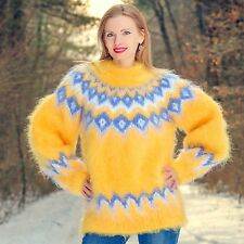 SUPERTANYA YELLOW Hand Knitted Mohair Sweater Icelandic Fuzzy Nordic Soft Jumper