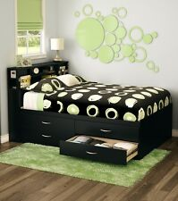 Black Full Storage 4-Drawer Platform Bed Frame with Bookcase Headboard