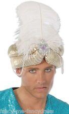 Uomo Oro Arabo Piuma Bianca Turbante Genio Costume Travestimento Cappello