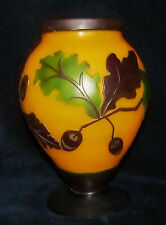 "VINTAGE CAMEO GLASS VASE Galle Intaglio Style Raised Leaf and Acorn 7 1/2"" Tall"