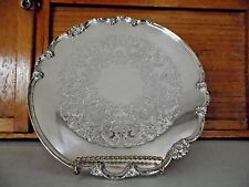 """1847 ROGERS BROS IS """" REMEMBRANCE"""" ~14"""" Footed ROUND PLATTER TRAY~9826"""