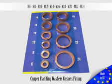 50x 0.8mm Multiple Metric Copper Flat Ring Crush Washer Gaskets Fitting