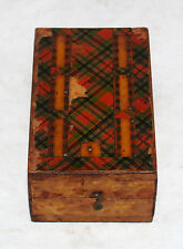 ANTIQUE VICTORIAN TARTAN PLAID FOLK ART CRIBBAGE BOARD BOX IOWA 1888