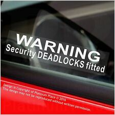 5 x Warning Security DEADLOCKS Fitted Stickers-Car,Van,Boat,Bike,Security Signs