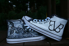 BLACK VEIL BRIDES CUSTOM HAND PAINTED HIGH TOPS MADE TO ORDER