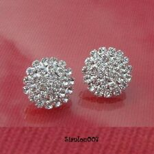Cute Circle Round Diamonte / Diamante Clear Stud Earrings - NEW!!!