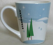 Starbucks Pine Trees Snowflakes Winter Scene Holiday 12 oz Coffee Cup 2011 EUC