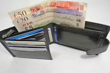 High Quality Luxury Mens Soft Leather Wallet Black with Back Zip and Coin Pocket