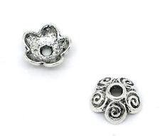 50 Perles Fleur Argent Antique embouts 10mm x 4 mm bracelets-collier (58e)