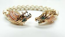 New Designer Fashion Italian leather Dragon Bangle Bracelet 14K Gold Silver SS