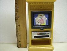 1999 Fisher Price Brown Flip TV Stand VCR My Loving Family Dollhouse Living Room