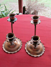 """PAIR OF 2 TAPER GREGORIAN COPPER HAND HAMMERED CANDLESTICKS 412 SIGNED 6"""""""