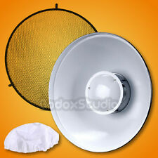 "55cm 22"" WHITE Honeycomb Grid Beauty Dish Bowens Mount + Sock for Flash Strobe"