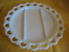 "VINTAGE MILK GLASS ANCHOR HOCKING OPEN LACE BIG PLATE SERVING DISH 13"" DIAMETER"