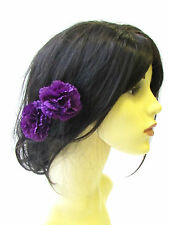 2 x Purple Carnation Flower Hair Pins Bridesmaid Clip Floral Wedding Summer 1496
