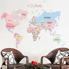 Letter World Map Wall Sticker Kids Children Bedroom Living Room PVC Mural Decal