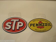 "(2)  PENNZOIL + STP Oil Gas Service Garage Metal 2"" Refrigerator Toolbox Magnets"