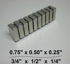 "10 Huge N30 Neodymium Block Magnet. Super Strong Rare Earth 3/4"" × 1/2"" × 1/4"""