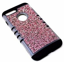 For iPhone 7 PLUS Frost Trim Pink Silver 3D Rhinestones Bling Hybrid Armor Case