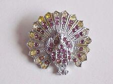 Adorable & Early Vintage Silver Tone Peacock Diamante Brooch
