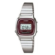 Casio Women's LA670WA-4DF illuminator Silver Stainless-Steel Quartz Watch Red