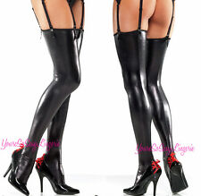 Sexy WET Look Thigh High STOCKINGS 20%SPANDEX Faux LEATHER use with Garters OS