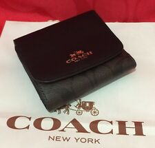 New Coach Signature PVC/Leather Trifold Small Wallet Black/Brown F53837  $135