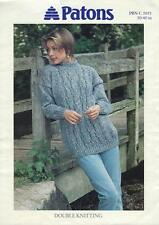 """PA5051B LADIES DK CABLED SWEATER KNITTING PATTERN 30-40""""/76-102cm"""