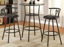 Casual Black Metal Round Counter Height Bar Table Set by Coaster 2383-2398